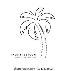 Black vector single palm tree thin line icon