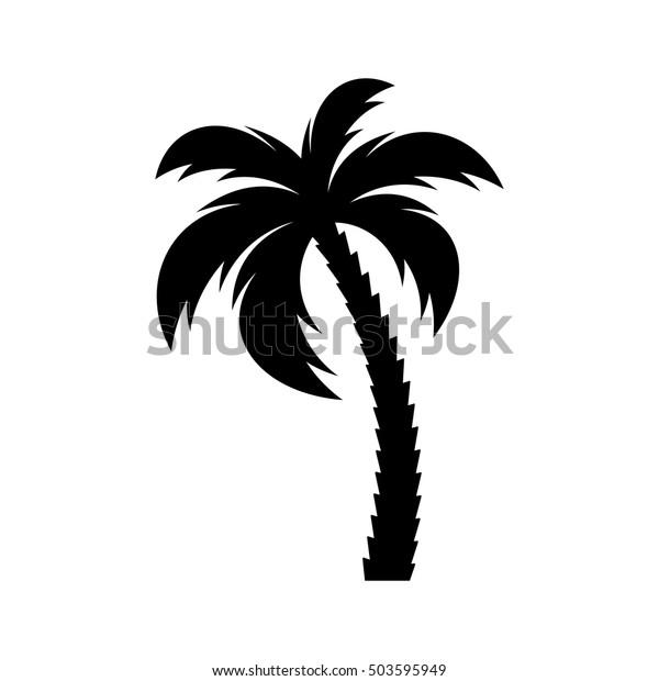 Черный вектор одного пальмы силуэт значок изолированы