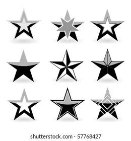 Black vector star set