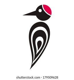 Black vector stylized woodpecker icon with red cap