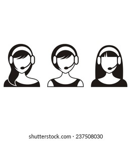 Black vector support or call center woman icons