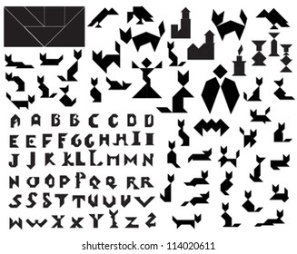 Black Vector Tangram Halloween Silhouettes Collection (people, animals, buildings, abc, letters, font art etc)