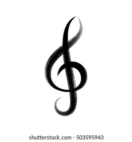 Black vector treble clef icon brush strokes design