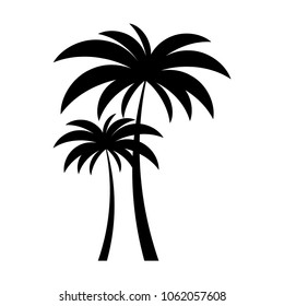Black vector two palm tree silhouette icon