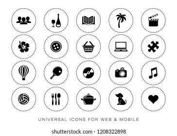 Black vector universal leisure web and mobile icons