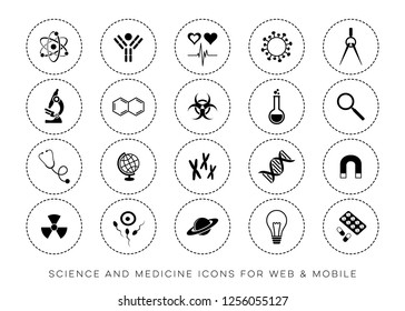 Black vector universal science web and mobile icons