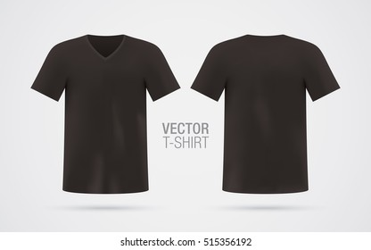 Black vector v-neck t-shirt template. Men's dark short sleeve t-shirt realistic mockup, isolated on white background. Front & rear sides.