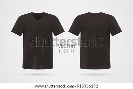 Tshirt Template | Black Vector Vneck Tshirt Template Mens Stock Vector Royalty Free