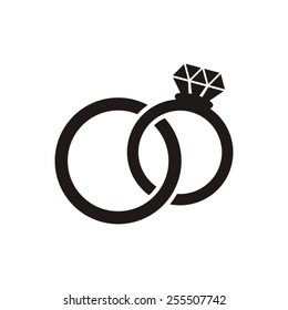 Black vector wedding rings icon isolated on white
