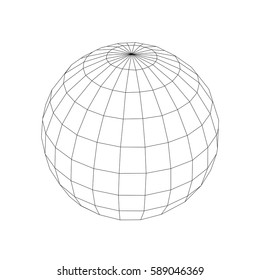 Black vector wireframe sphere - globus on white background