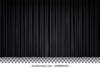 Black velvet curtain in theater or cinema. Vector realistic closed stage curtains lighted by spotlight. Black fabric drapes in opera isolated on transparent background