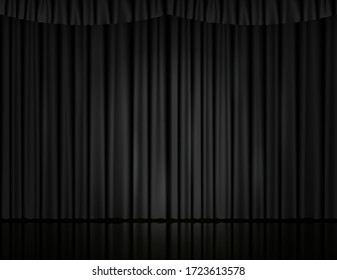 Black velvet curtain in theater or cinema. Vector background with closed stage curtains with drapery, spot of light and reflection on glossy floor. Black fabric drapes lit by searchlight