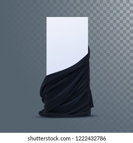 Black velvet fabric with paper banner. Decoration element for design. Vector realistic illustration. Realistic textile with folds and drapes isolated on transparent background