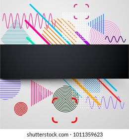 Black vertical background with abstract colorful pattern on white. Vector paper illustration.