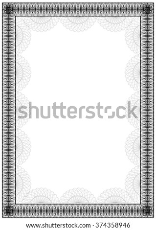 black vertical frame diploma certificate template stock vector