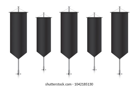 Black vertical royal flags, standing in a row. Vector banner flag templates isolated on background. Vertical flags realistic mockup.