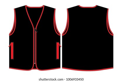 Black Vest Design Vector with Red Edging.Front and Back View.