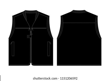 Black Vest for Template  : Front & Back View