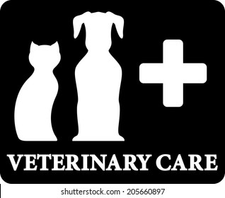 black veterinary care icon with pets and cross on black background