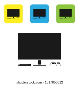 Black Video game console icon isolated on white background. Game console with joystick and lcd television. Set icons colorful square buttons. Vector Illustration
