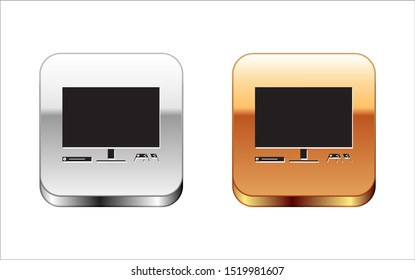 Black Video game console icon isolated on white background. Game console with joystick and lcd television. Silver-gold square button. Vector Illustration