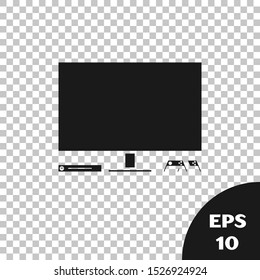 Black Video game console icon isolated on transparent background. Game console with joystick and lcd television.  Vector Illustration