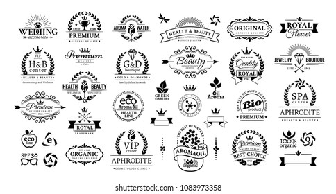 Black vintage decorative badges set isolated on the white background. Design graphic retro elements for natural cosmetics, health, beauty and jewelry products, business and advertising
