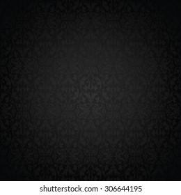 Black vintage royal background with damask pattern
