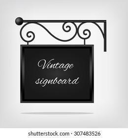 Black vintage signboard. Vector illustration, EPS10.