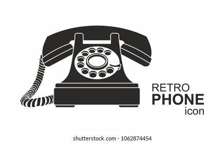 Black vintage telephone isolated on white