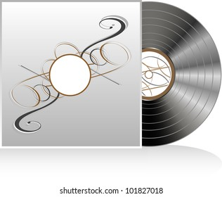 Black vinyl disc with abstract vintage cover