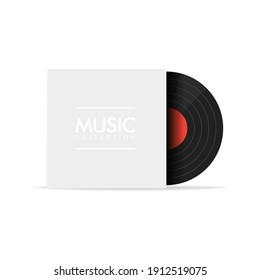 Black vinyl record with blank white cover on white background. Music concert poster for your design.