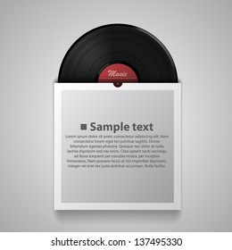 Black vinyl record disk in paper case on gray background, LP music cover, template design element, Realistic vector illustration