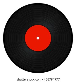 Black vinyl record isolated on white background. Vector illustration