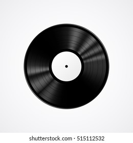 Black vinyl record isolated on white background, realistic vector illustration
