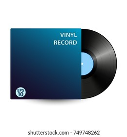 Black vinyl record isolated on white background. Vector music disk.