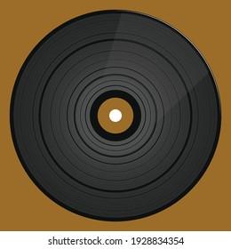 Black vinyl record LP album disc vector illustration.