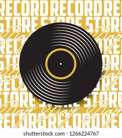 Black vinyl record store day flat concept vector illustration