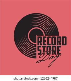 Black vinyl record store day flat concept vector illustration