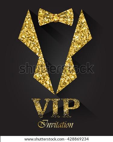 Black Vip Background Golden Tuxedo Bow Stock Vector
