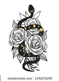 Black viper in rose bouquet. Vector hand drawn illustration. Tattoo sketch, t-shirt print, sticker design