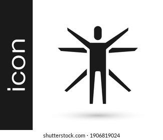 Black Vitruvian Man by Leonardo Da Vinci icon isolated on white background. Human anatomy.  Vector