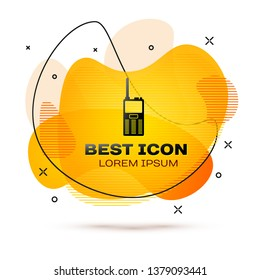 Black Walkie talkie icon isolated on white background. Portable radio transmitter icon. Radio transceiver sign. Fluid color banner. Vector Illustration