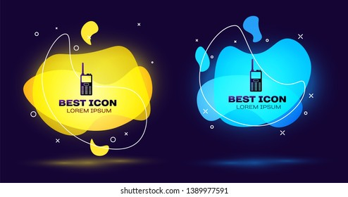Black Walkie talkie icon isolated on blue background. Portable radio transmitter icon. Radio transceiver sign. Set of liquid color abstract geometric shapes. Vector Illustration