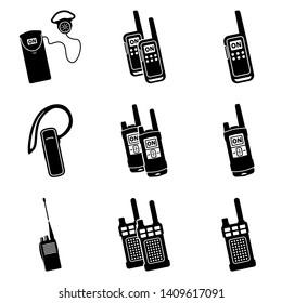 Black walkie talkie vector icon