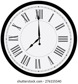 Black wall clock vector isolated. Clock on wall shows eight o'clock. Roman numeral clock