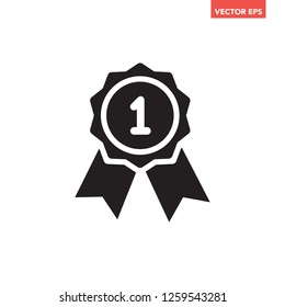 Black warranty achievement award with ribbon & top number 1 icon for interface concept elements app ui ux web button logo, simple graphic glyphs flat design vector eps 10 isolated on white background