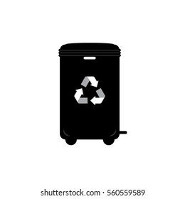Black waste bins with trash icon. Recycle Bins