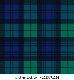 Black Watch Style Tartan Seamless Vector Pattern in Navy Blue, Green and Black. Trendy Fashion Print. Traditional Scottish Military Textile. Repeating Pattern Tile Swatch Included.