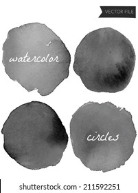 Black Watercolor Circles Vector Paint